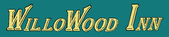 Logo of WilloWood Inn, motel lodging in Baraboo Wisconsin.