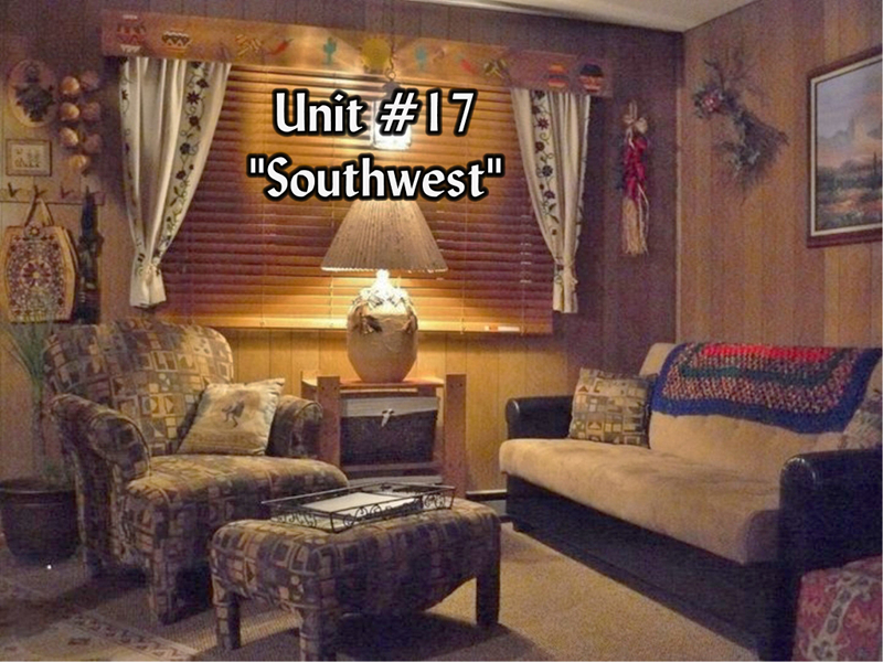 The living room of Suite 17 includes a futon sofa-bed.
