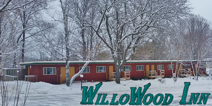 WilloWood Inn original structures as seen in winter